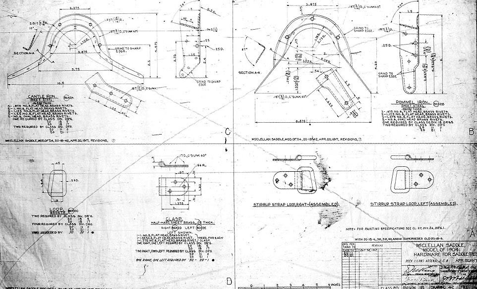 Image the 20 April 1917 Quartermaster drawings prepared for saddletree contractors, specifying materials reinforcement archs and stirrup loops